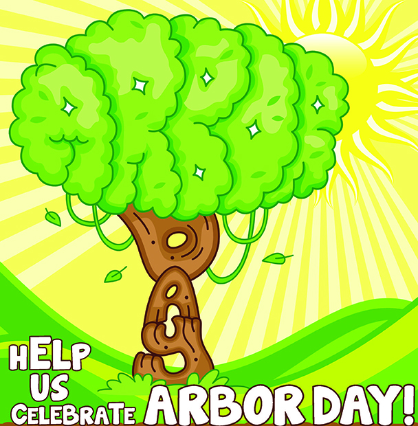 """Drawing of a tree and text that says """"help us celebrate arbor day!"""""""